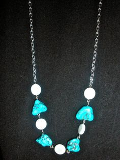 Turquoise, shell and chain necklace