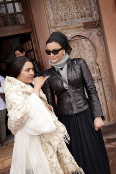 Her Highness with Rajae Benchemsi, writer and wife of the late artist Farid Belkahia, during her private visit to Marrakesh, Morocco 2/4/2014. She looks absolutely stunning in black leather jacket and dress. She loves to visit Morocco, doesn't she?