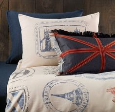 Vintage Passport Stamp & European Heathered Jersey Bedding Collection Sold Out thestylecure.com