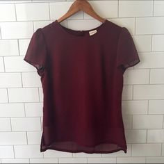 Merona small maroon top with gold zipper on back Maroon top with gold zipper on the back - double layer (silky on inside / chiffon like on outside) size small Merona Tops Blouses