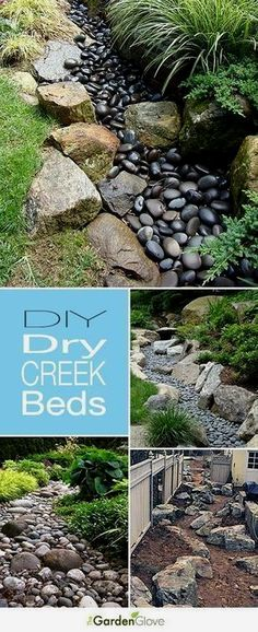 """If you want to make a dramatic statement in your garden, without a lot of maintenance, a DIY dry creek bed is the way to go. Try these DIY dry creek landscaping ideas to give your yard that """"wow""""…MoreMore  #LandscapingDIY"""