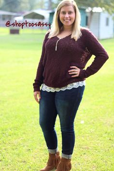 Burgundy Crochet and Lace Longsleeve