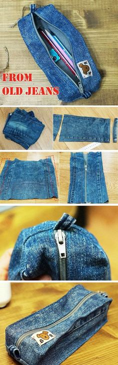 DIY Denim Pencil Case How to make a pouch, purse or wallet. Diy Denim Pencil Case - Step by Step. Diy Denim, Artisanats Denim, Denim Crafts, Recycled Denim, Denim Purse, Recycled Crafts, Diy Old Jeans, Denim Shorts, Jean Diy