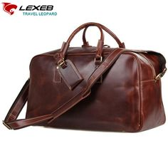 Trolley Travel Bag Lexeb Men Vintage Genuine Leather Bags Hand Luggage Luxury Designer