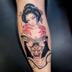 Hannya and geisha tattoo by Silly Jane Asian Tattoos, Leg Tattoos, Body Art Tattoos, Sleeve Tattoos, Japanese Geisha Tattoo, Japanese Tattoo Designs, Japanese Tattoos, Japanese Sleeve, Hannya Mask Tattoo