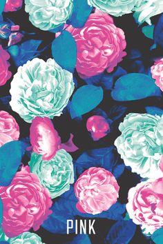 Blue Floral PINK Wallpaper