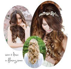 Wedding hair inspiration - all down wavy curls Wedding Hair Flowers, Wedding Dresses, Flower Hair, Wedding Hair Inspiration, Wedding Ideas, Wedding Fun, Wedding Rustic, Forest Wedding, Asian Inspired Wedding