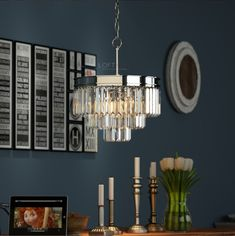 3 tier chrome crystal glass prism chandelier lighting odeon chandelier