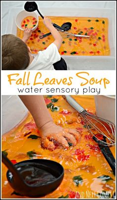 Fall leaves sensory soup: water sensory play for toddlers and preschoolers from And Next Comes L Fall sensory bin activity for toddlers, preschoolers, and kindergarten aged kids Fall Sensory Bin, Sensory Table, Sensory Bins, Sensory Activities, Toddler Activities, Halloween Activities For Toddlers, Autumn Activities For Babies, Toddler Halloween Crafts, Edible Sensory Play