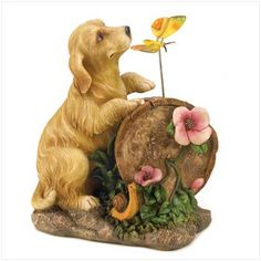 puppy love solar light-up statue Description A playful pup and his butterfly pal make merry in the summer sun, adding an air of innocence to your outdoor décor. Solar light-up accents let you continue to enjoy this charming statue after dark!