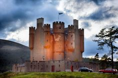 Braemar Castle as night falls in Aberdeenshire