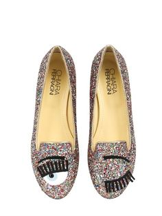 CHIARA FERRAGNI - 10MM BLINK EYES GLITTER LOAFERS - LUISAVIAROMA - LUXURY SHOPPING WORLDWIDE SHIPPING - FLORENCE