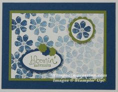 It's so easy to make a background by repeating a stamp, without re-inking it. Bloomin' Marvelous stamp set from Stampin' Up!