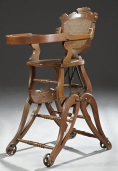 american carved walnut collapsible high chair c 1890 poussette landau berceau chaises