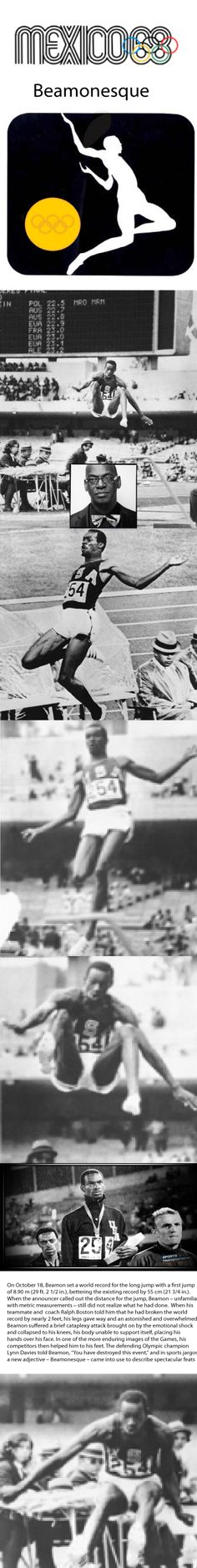 Bob Beamon - a career of excellence - at the 1968 Olympics i Mexico City, a moment of pure genius.