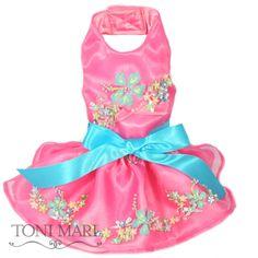 Handpainted Summer Hibiscus Halter Dress-Pink