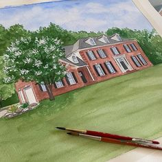Hand painted watercolor house portraits. Custom painting of your home. House Paintings, Custom Paint, Custom Homes, Portraits, Hand Painted, Watercolor, Pen And Wash, Watercolor Painting, Head Shots