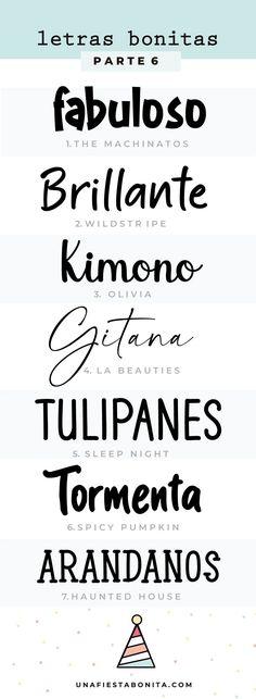 Tipos de letras para descargar - Una Fiesta Bonita Typography, Math Equations, Graphic Design, Calligraphy, Illustrations, Wallpaper, Diy, Ideas, Happy