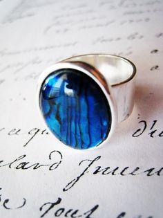 Dark blue paua shell and silver ring. Wide band.  #littlebearsmom #etsy