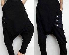 Modern Edgy Guacho Steampunk Drop Crotch Pants Black Soft Cotton Blend Fabric (New-03).