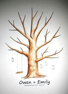 Mason Jars Wedding Guest book Thumb Print Tree. $5,00, via Etsy.