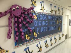"Great back- to- school bulletin board idea- ""Look Who's Diving Into First Grade""   Perfect for an ocean- themed classroom!"