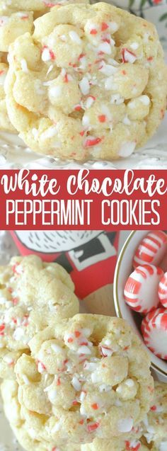 Peppermint is delicious all year round, but it's definitely a stape of the Christmas holiday season! Here are the most buzzworthy peppermint desserts for Christmas! Pepermint Cookies, Chocolate Peppermint Cookies, White Chocolate Cookies, Chocolate Candies, Spritz Cookies, Peppermint Bark, Chocolate Bars, Delicious Chocolate, Chocolate Desserts