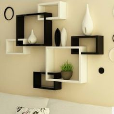 black and white wall shelves