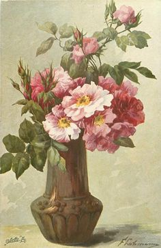 pink/white roses & many buds in brown vase