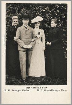 Dutch Queen mother Emma, prince consort to be  Hendrik, Queen Wilhelmina andthe dowager grand duchess Marie van Mecklenburg-Schwerin, 1900.
