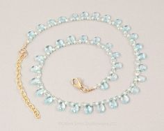 Blue Topaz Briolette and Pearl Necklace
