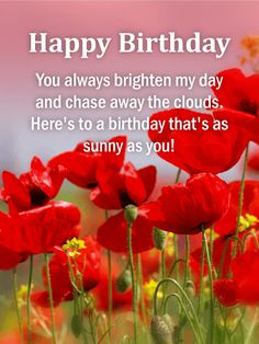 You Chase Away the Clouds! Happy Birthday Card: From near or far, across the ocean or just next door, new acquaintances or years of knowing each other, give her an amazing birthday card! This garden of poppies is sure to bring her happiness and success on her special day, made even better because the person sending it is you. Celebrate another fabulous year with her and send this birthday card!