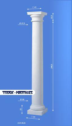 Elegante Säule für Häuservordächer aus hochwertigen Betonwerkstein.   Diese Säule hat eine Höhe von 262,5 cm   einen Durchmesser von 30 cm mit Verjüngung auf 27,5 cm, die quadratische Sockelplatte (Basis) hat die Maße von  41x41 cm und das obere Kopfplatte (Kapitell) hat 41x41 cm.
