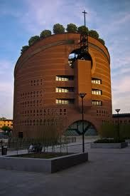 Mario Botta - Cathedral of the Resurrection in Evry Amazing Architecture, Interior Architecture, Modern Church, Famous Architects, Fresco, Mario, Around The Worlds, Sunset, Cathedrals