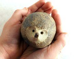 Hedgehog Spirit Rattle Stoneware Made to by StudioByTheForest