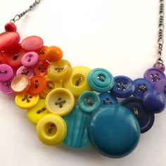 Big Bright Bold Colorful Rainbow Button by buttonsoupjewelry, $49.00