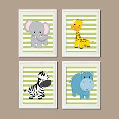 Jungle Animals Nursery Prints Or Canvas Wall Art Safari Elephant Giraffe Zebra Hippo Zoo Pictures Set Of 4