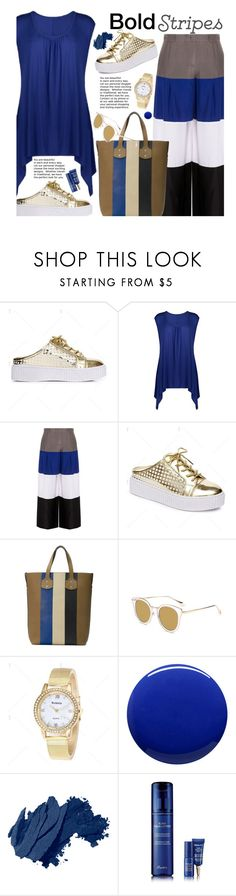 """""""Strong Stripes: Graphic Striped Pants"""" by beebeely-look ❤ liked on Polyvore featuring Emporio Armani, Lauren B. Beauty, Bobbi Brown Cosmetics, Guerlain, casual, stripes, stripedpants, streetwear and twinkledeals"""