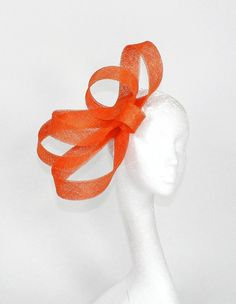Orange Fascinator Hat for Kentucky Derby, Weddings and Christmas Parties on a Headband