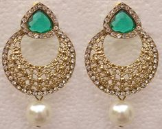 Victorian Style Earrings Traditional Indian Jewelry Designer CZ Sea Green