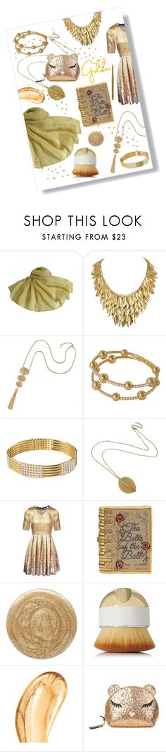 """Silk Scarves - Gold"" by eternal-collection ❤ liked on Polyvore featuring Matthew Williamson, Judith Leiber, Burberry, Artis, Tom Ford, Furla, NYX, golden, fashionset and silkscarves"
