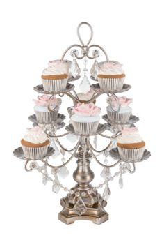 Tea Time-12-Piece Crystal-Draped Dessert Stand  | Silver | Madeleine Collection
