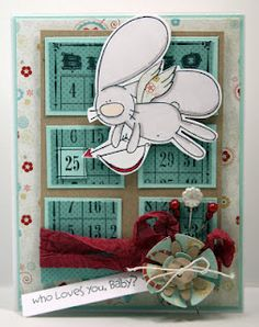 """ACK! Kelli Jo Hull's card is just awesome using the Build-A-Bingo stamp in the back and the Bunny from """"Feelin' Cupidy"""". ADORABLE!"""