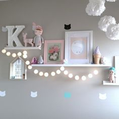 Battery operated cotton ball garland is part of Baby girl bedroom This LED battery operated lighted cotton ball garland is perfect for any occasion! Available in white or cream, it is 6 5 feet lon - Baby Girl Room Decor, Nursery Room Decor, Baby Bedroom, Boy Room, Girls Bedroom, Girl Rooms, Little Girl Bedrooms, Cotton Ball Lights, Girl Bedroom Designs
