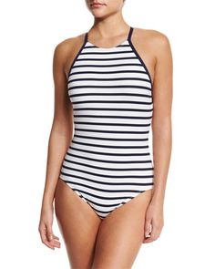 TBBU0 Tommy Bahama High-Neck Striped One-Piece Swimsuit