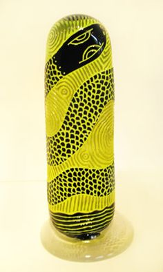 """John Brekke, """"Icon (lime snake),""""   blown, carved glass, http://www.morganglassgallery.com/imagepages/Brekke_JBA-8_Icon_Lime_Snake.htm"""