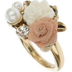 Rose and pearl ring ($6) ❤ liked on Polyvore