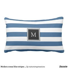Modern ocean blue stripes monogram beach
