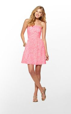 Chandie Dress by Lilly Pulitzer, a fun and flirty pink strapless dress