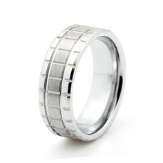Robust Ring  8mm comfort fit grooved and brushed tungsten men's ring. A classy look for any man.  #mensrings #shopcloverkitty #weddingrings #weddingbands